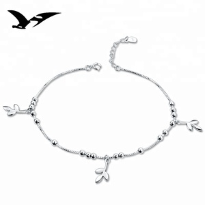 2018 new arrival jewellery silver platinum leaf anklet