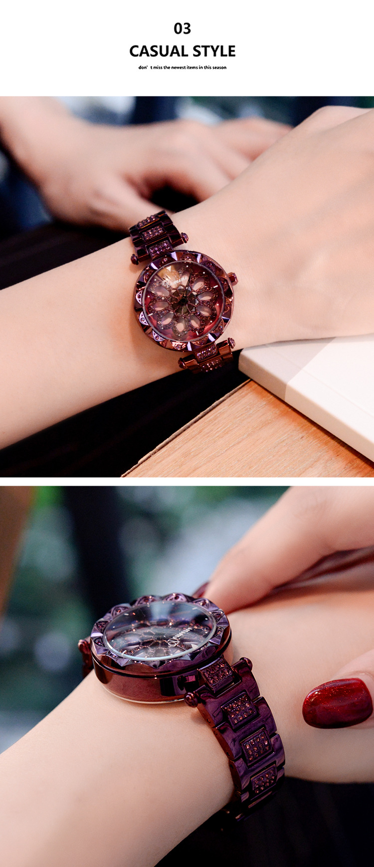 Starry Sky Turning Over Jewelry Diamond Watch For Women WAT2045