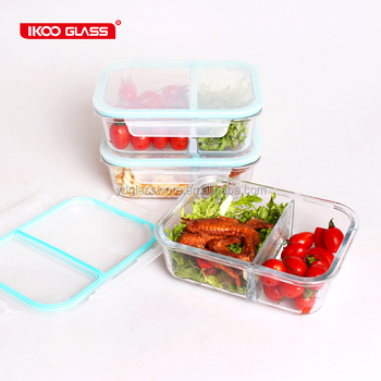 2017 new products of glass lunch box/ 2 Compartments Glass Meal Prep Containers