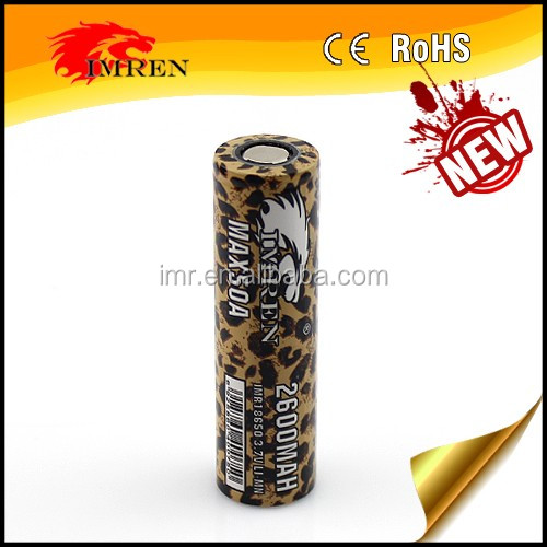 Newest IMREN IMR 18650 2600mah 50A battery,battery 18650 26650