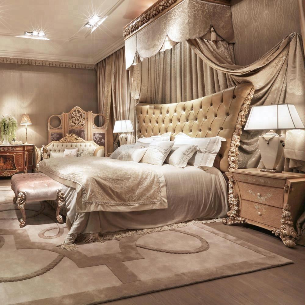 Italian classic style luxury wood carving kind size victorian international bedroom furniture set