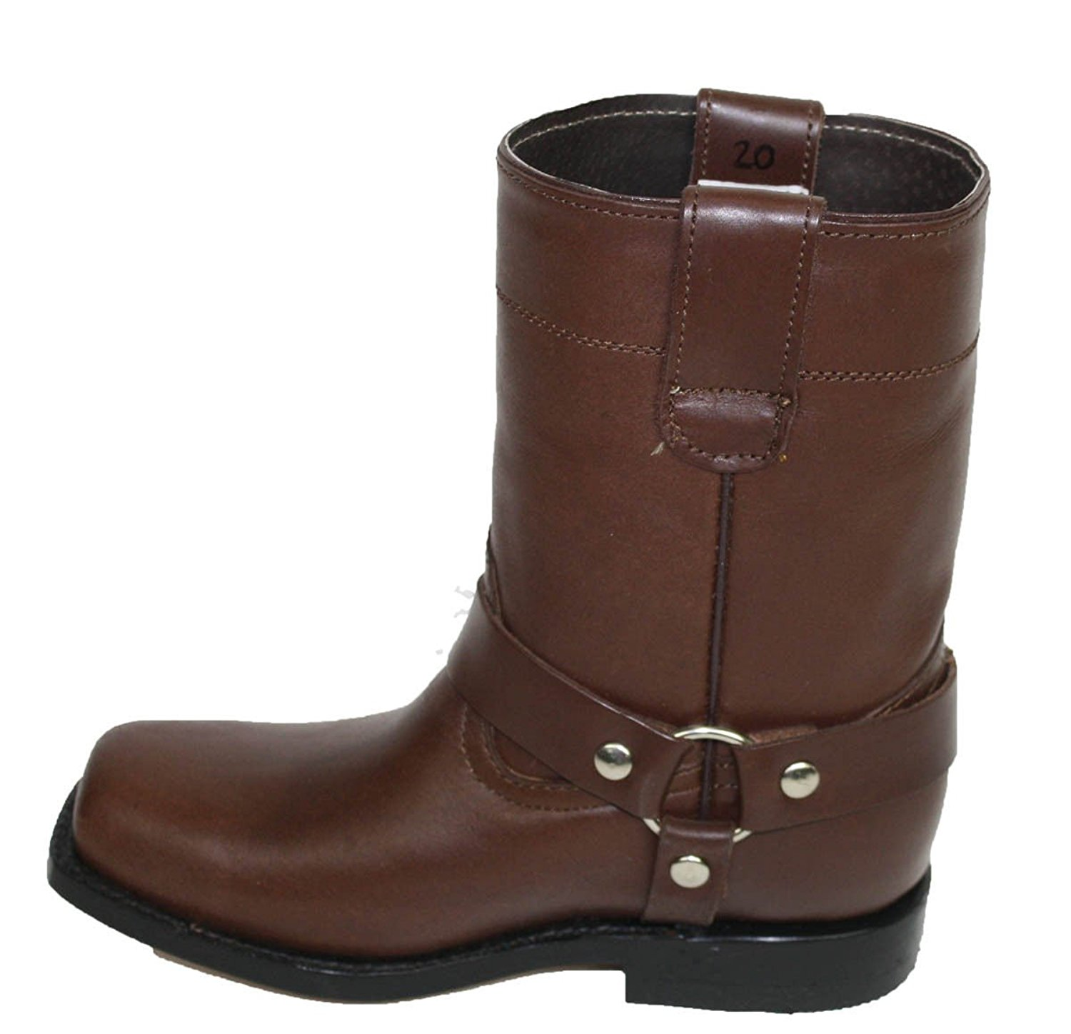 Dona Michi Unisex Kids Genuine Soft Cow Hide Brown Leather Motorcycle Harness Boots