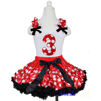 Red White Polka Dots Black Trim Pettiskirt with 3rd Birthday White Tank Top 1-7Y