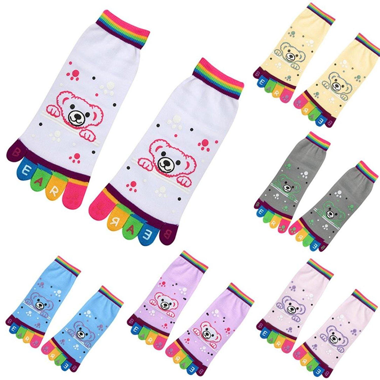 Funny Toe Socks, Misaky Lady Girls Cartoon Five Finger Socks Patterned Cotton Ankle Socks
