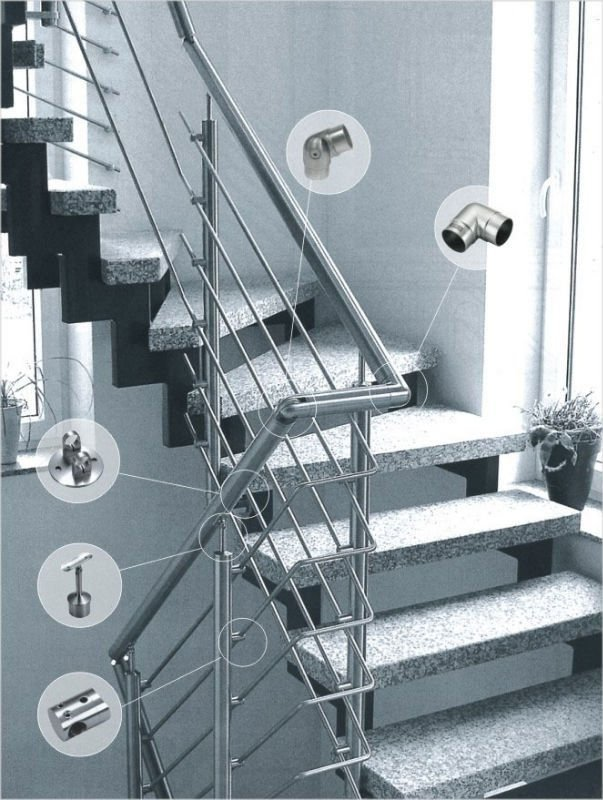 Stainless Steel Railing Bar Connector, Stair Railing Bar Holder.