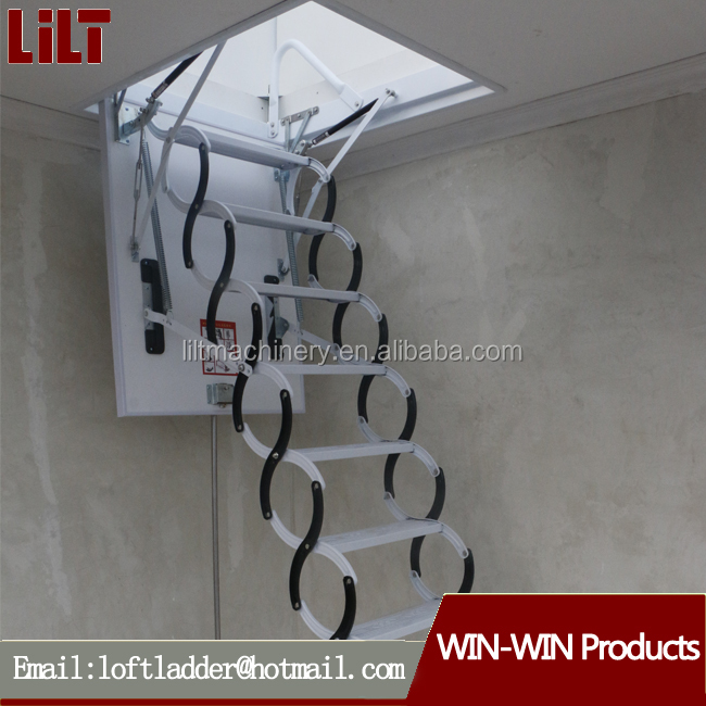 Easy Install and Operate Safety Al-Mg Loft Ladder with handrail
