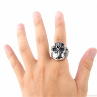 MOONSO European and American punk rock skull titanium stainless steel ring fashion jewelry AR5120