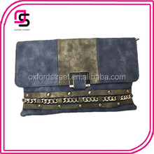 alibaba China suppliers wholesale handbags contrast colore rivets studded nubuck leather punk clutch bag