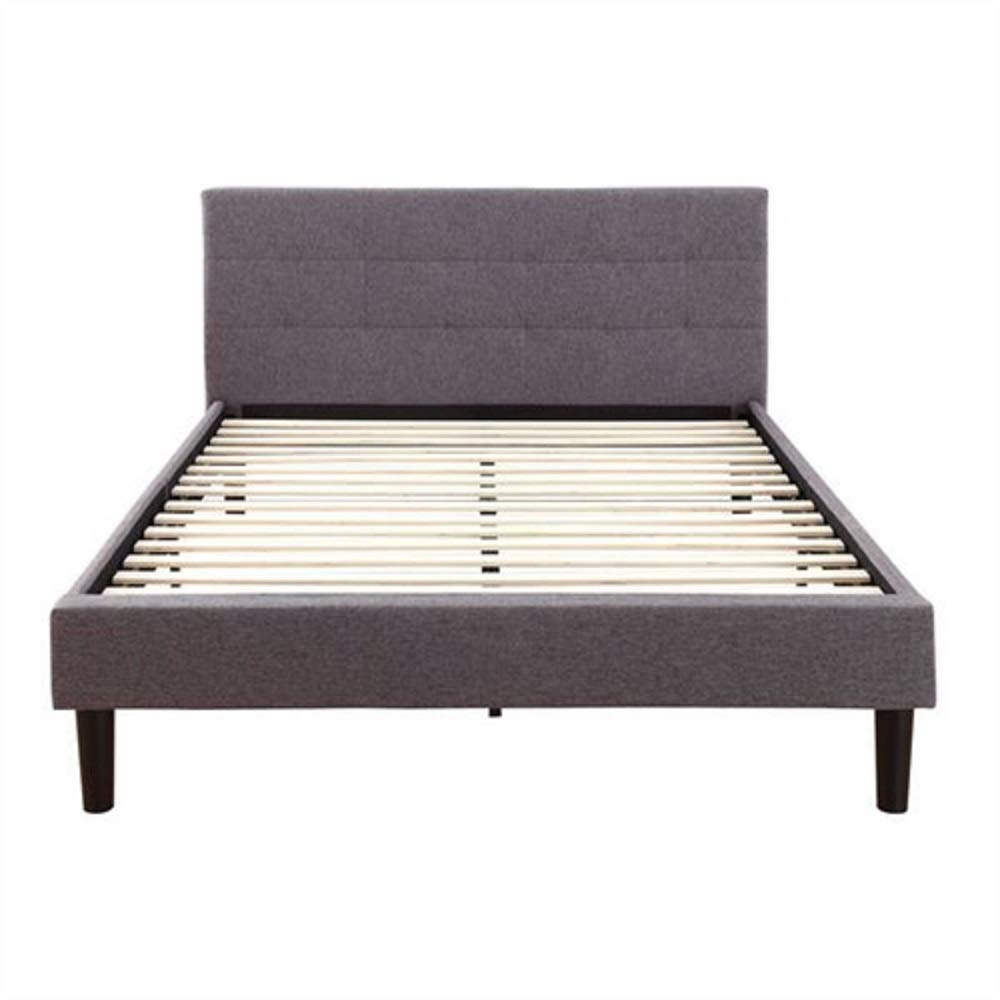 MyEasyShopping Full size Grey Linen Upholstered Platform Bed Frame with Padded Headboard Rails Cast Antique