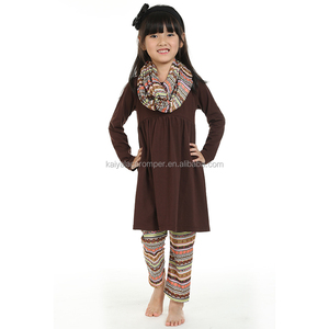 wholesale children's boutique clothing brown skirt legging pants kids outfits children clothing sets