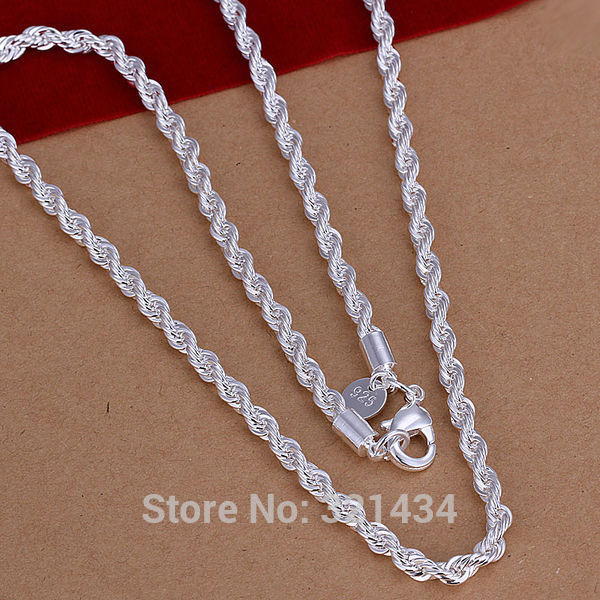 ea57cb04acab Free shipping Fashion High quality new 925 Sterling silver 20 inches Necklace  Necklaces Pendant chain Link 4MM Pendants KX67