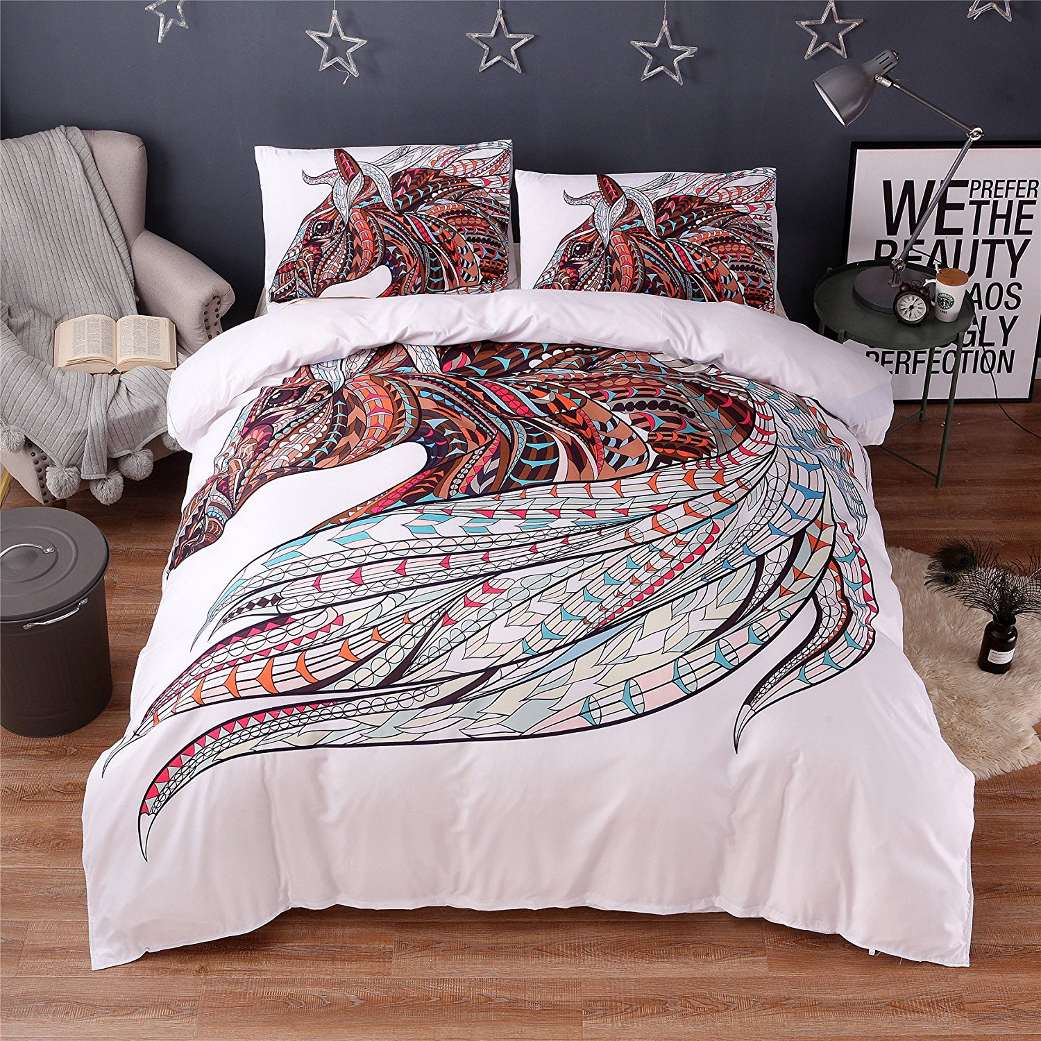 FUYA 2/3 Pieces 3D Horse Bedding Set Bohemia King Duvet Cover with Pillow Case Colorful Printed Bed Set Cover (TWIN 2Pcs)