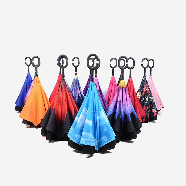 New design double layer C Handle Inverted Umbrella