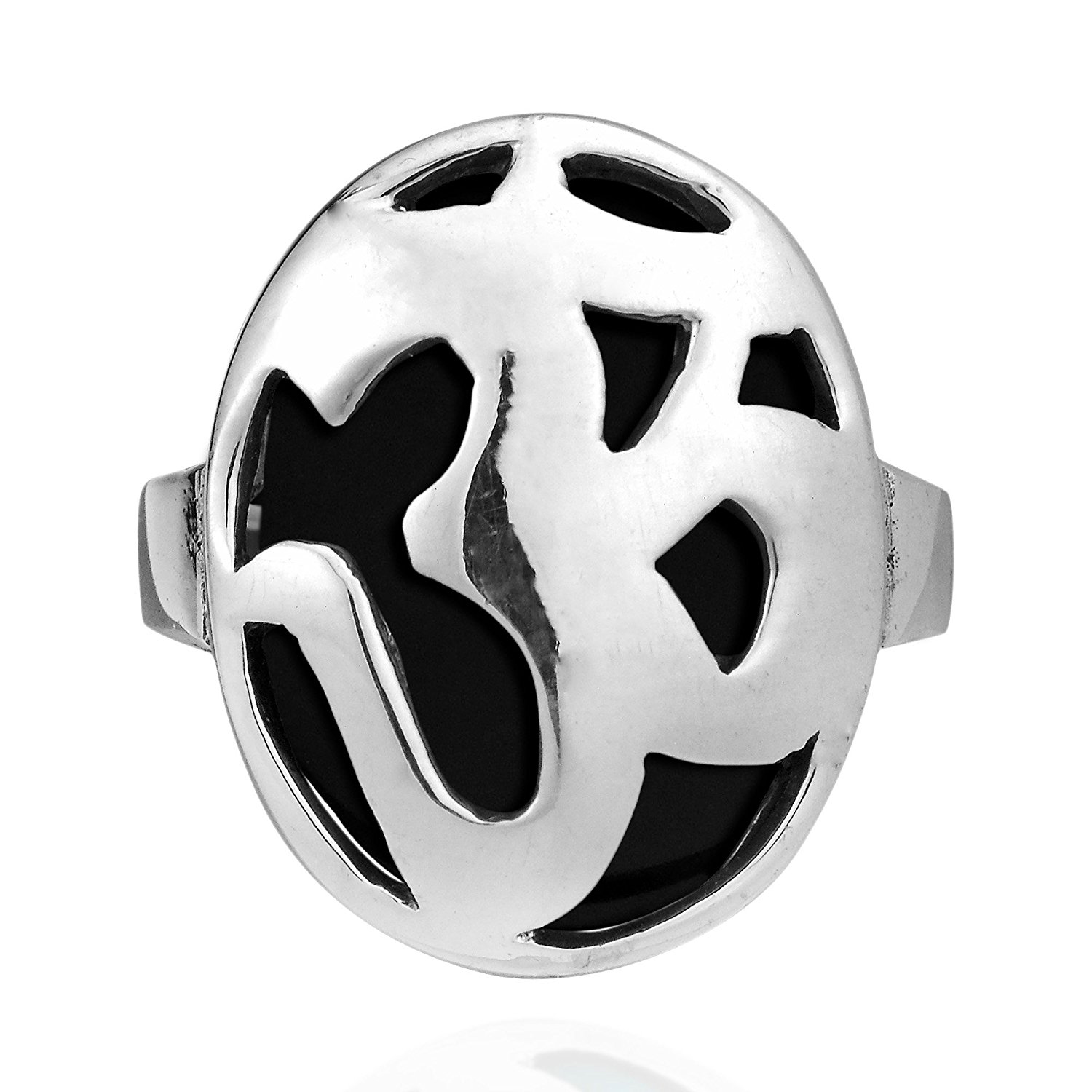 Aum/Om Prayer Symbol Reconstructed Black Onyx .925 Sterling Silver Ring