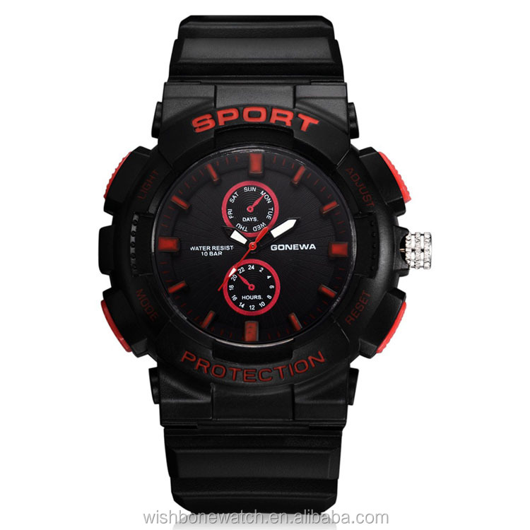 Unique Multi - functional Outdoor Sports Compass Silicone Strap Wrist Watch for Men