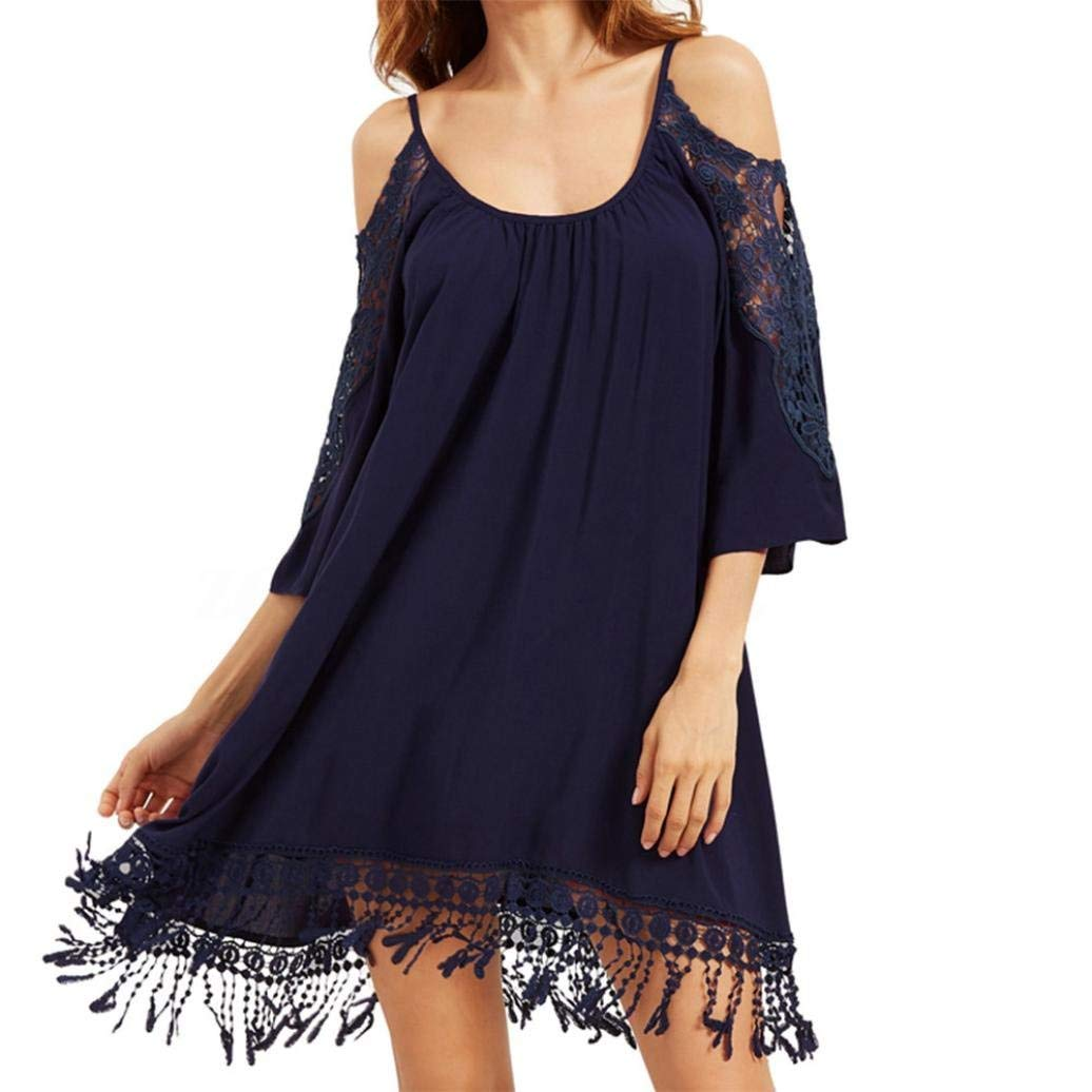 Hot Sale! Women Casual Dresses,Vanvler [Ladies Off Shoulder Dress ]Cropped Sleeve Fringe Lace Dress (XL, Navy)