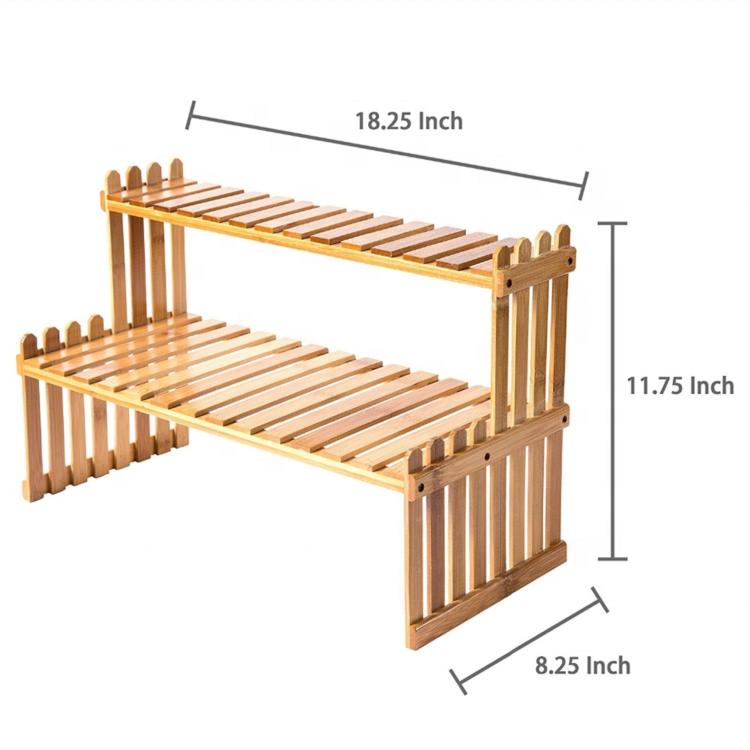 2 Tier Tabletop Natural Bamboo Plant Stand Shelf <strong>rack</strong>