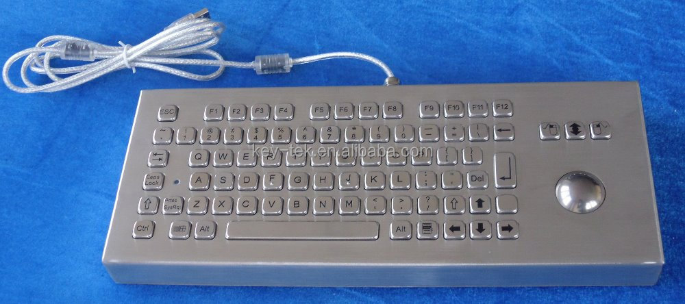 Stainless steal metal keyboard with track ball for industrial and kiosks