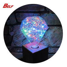 color changing led christmas lights diamond decoration bulb with 250cm cooper wire inside e27 e26 base 85-265V RGB flash