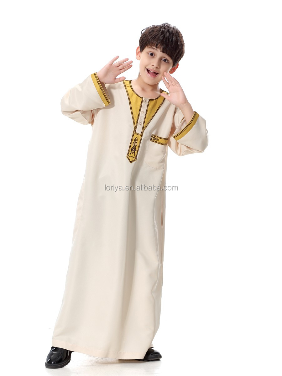 Hot selling online boy's thobe dubai abaya long sleeve muslim kaftan kimono jubah maxi children's abaya islamic clothing