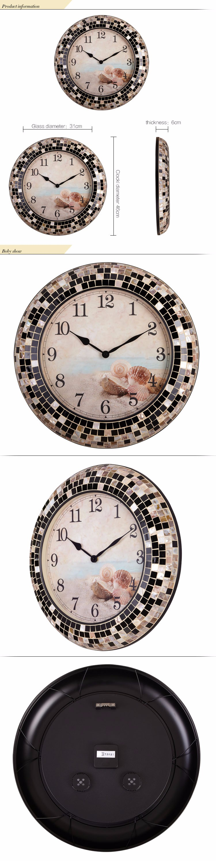 design fancy decoration handmade frame wall clock