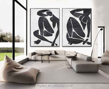 2 Panel Creative Canvas Wall Art Abstract Modern Black White Oil Painting