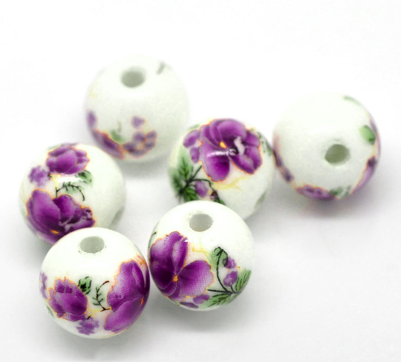 "Free Shipping 30PCs Purple Flower Pattern Round Ceramic Beads 12mm( 4/8"")Dia. (A20817)"