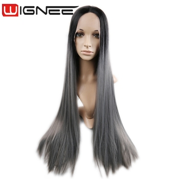 Lace Front Ombre Ash Gray Synthetic Cosplay Wig Long Silk Straight Hair  Weaving Braided Wig For e3d9df3ee