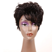 Alibaba Brazilian short bob lace front wig virgin human hair wigs with bangs for black women