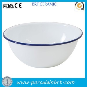 Cheap enamel white cereal bowl with blue rim