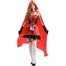 High Quality Red Maid Suit Cloak with hood halloween costumes sexy women