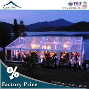 15m*40m outdoor business hall transparent wedding party tents with roof linings and curtains decoration