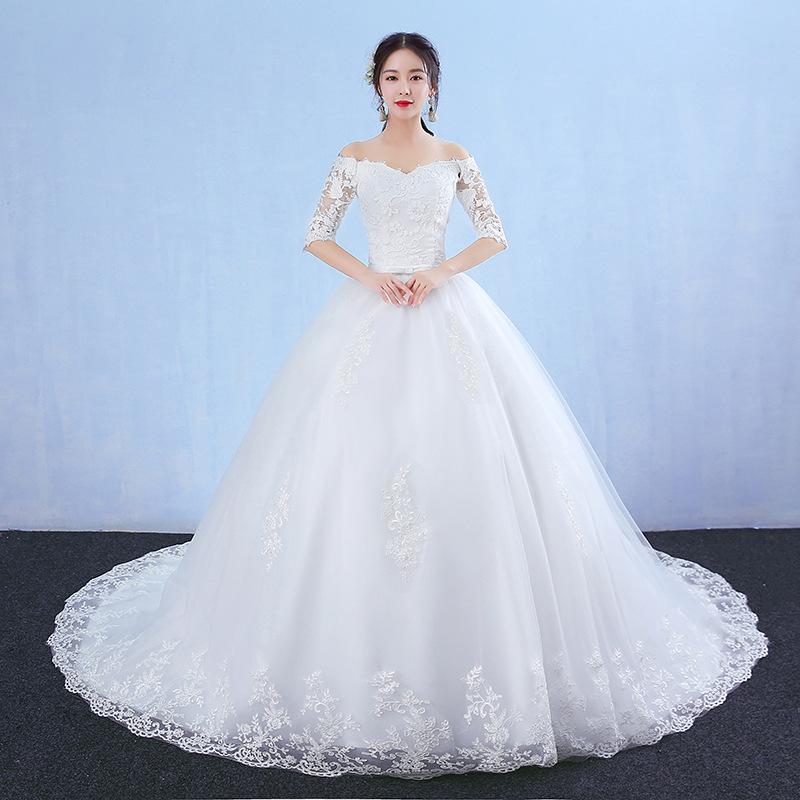 Korea Fashion Elegant Off Shoulder Short Sleeve V Neck Slimming Long