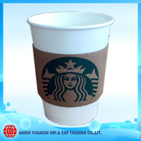 12 oz single wall starbucks coffee paper cups with sleeves
