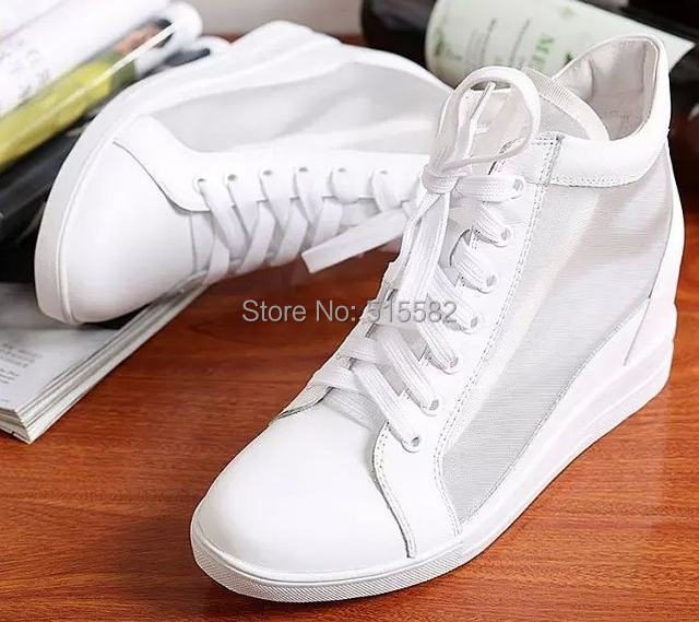 Elevator Shoes White Lace Up Casual