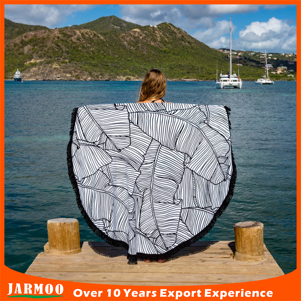 Good quality outdoor promotion 100% cotton printed round beach towels made in china