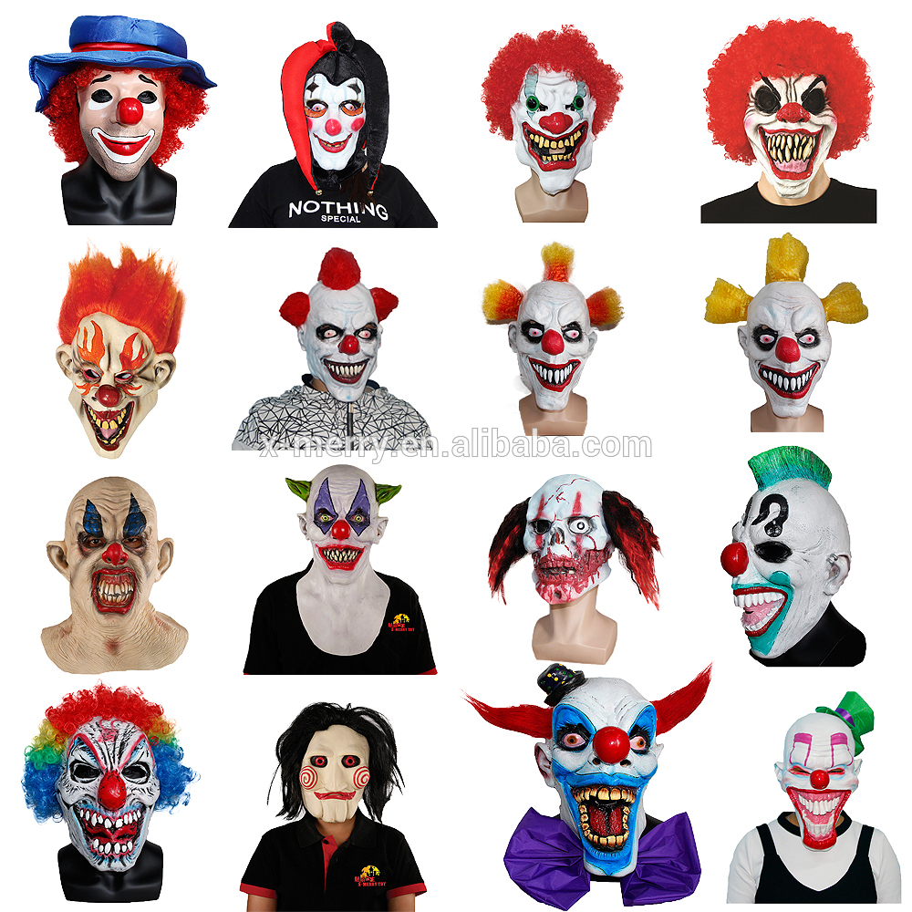 X-merry Toy Giggles Joker Clown Costume Mask Creepy Evil Scary ...