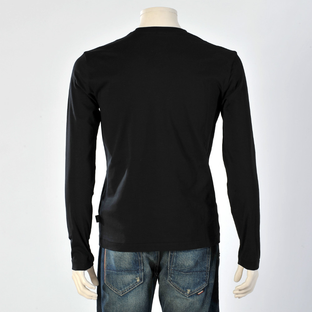 Black t shirt plain - Black Slim Fit Plain Long Sleeve T Shirt Men