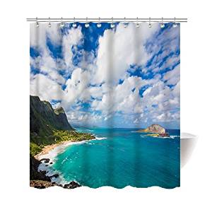 Get Quotations Gwein Beautiful Hawaiian Beach Shower Curtain Polyester Fabric Mildew Proof Waterproof Cloth Room Decor