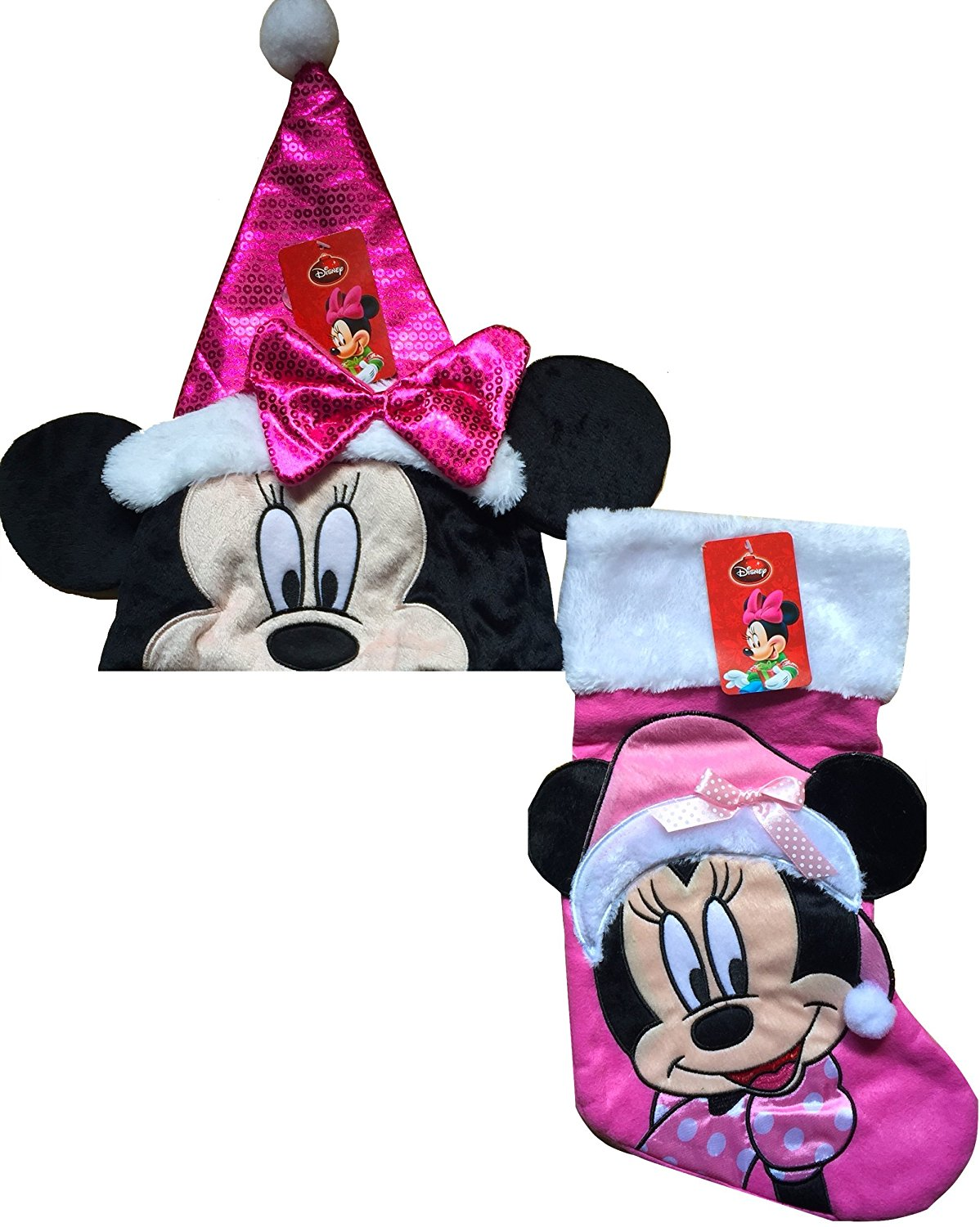 038e201ba41f8 Minnie Mouse Christmas Santa Hat with Minnie Mouse Christmas Stocking Gift  Set (pink)