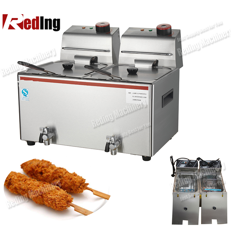 Double commercial deep fryer electric ventless fryer/ donut deep fryer machine/2 tank 4 basket deep fryer