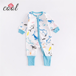 soft cotton baby grow footed unisex cotton newborn animals baby jumpsuit with zipper