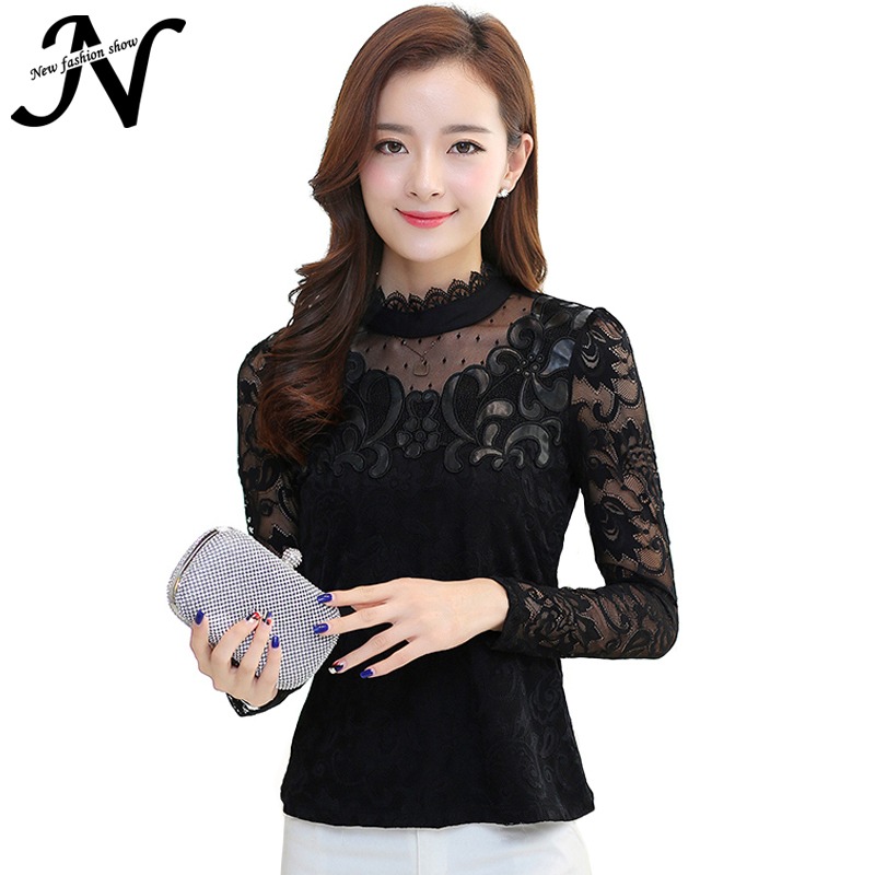 Ladies Blouse Lace Women Tops Stand Collar Long Sleeve Lace Blouse 2015 New Fashion Korean Style Autumn Winter Black Tops 3034