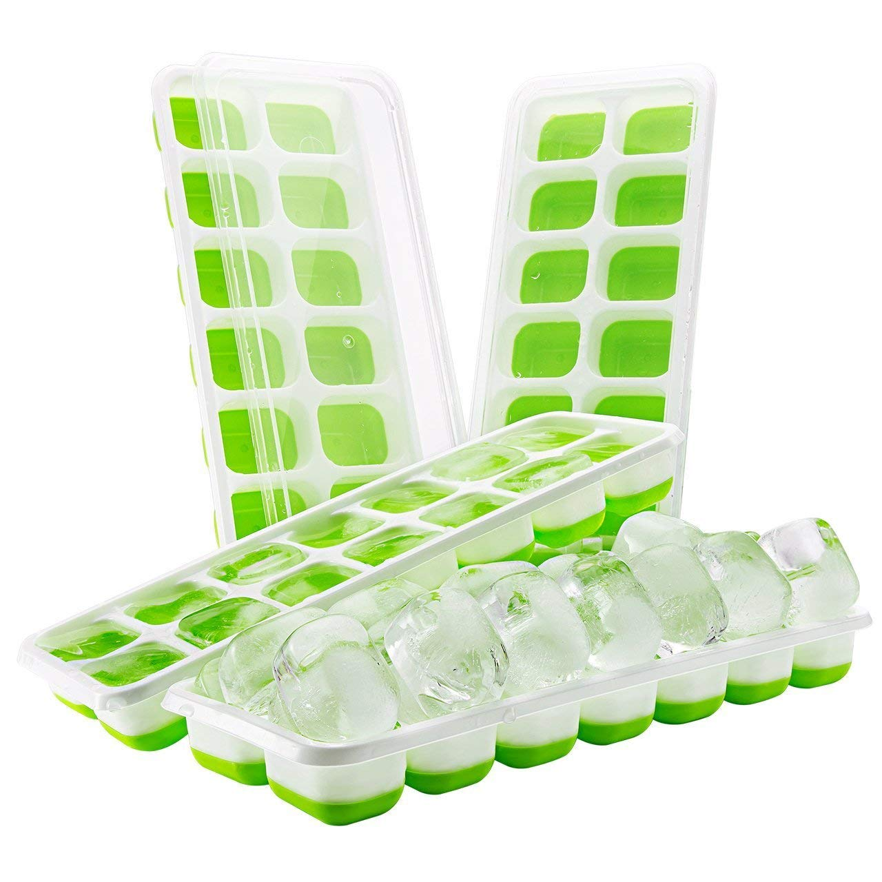 BaiFeng 4 Pcs/Set Green 14 Grid Silicone Ice Trays,Non-Spill Removable Lid, Easy Demould,Flexible Ice Cube Moulds,Family Creates DIY Variety Delicious Ice Cubes