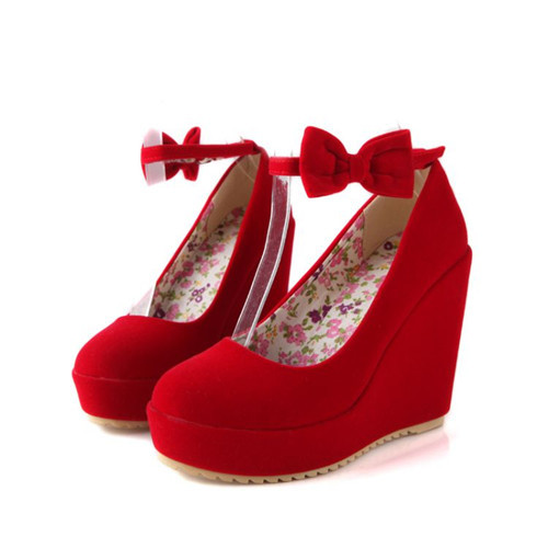 465249e01db2 Buy Elegant Womens Bowtie Mary Janes Platform Wedges High Heel Ankle Strap  Faux Suede Shoes Wedding Pumps Black Red in Cheap Price on m.alibaba.com