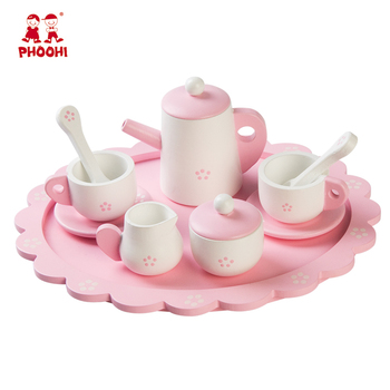 Pretend play house toys romantic pink wooden kids play tea set for children 3+