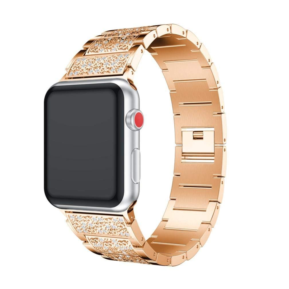 Alloy Crystal For Apple Watch Series 3 38MM,Unpara Luxury Watch Band Wrist Strap (Rose Gold)