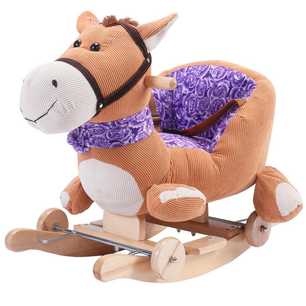 Swell Baby Kids Toy Brown Pony Plush Rocking Chair Rider Toddler Seat Wood Animal Rocker W Sound Wheel Buy Plush Animal Rocker Plush Rocking Chair Plush Inzonedesignstudio Interior Chair Design Inzonedesignstudiocom