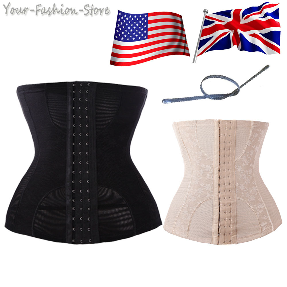 30b53c3579 Get Quotations · 4 Steel Boned Waist Trainer Shaper Slimming Belly Girdle  Sexy Body Underbust Bustiers Belt Black Corsets