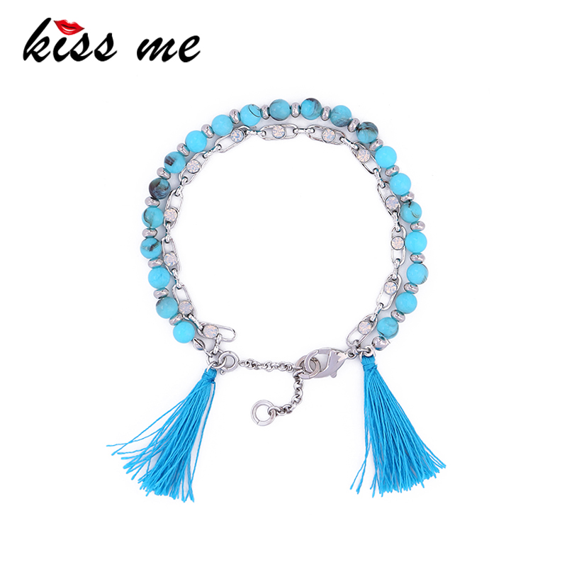 Wholesale Factory Handmade Blue Strand Beads Bracelet, Detachable Chain 2017 Accessories for Women Bohemian Tassel Bracelet
